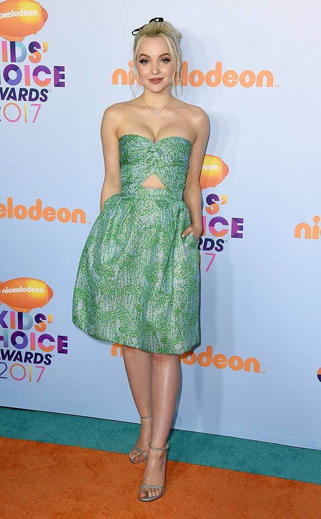 Dove Cameron from Kids' Choice Awards 2017: Red Carpet Arrivals  Mermaid moment! The Disney channel star shines in her printed, strapless number.
