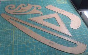 Para quem não tem as réguas específicas de curvas, que facilitam fazer o molde, basta clicar nos links em vermelho e imprimir.Depois é só pedir para alguém de sua confiança cortarem papel cartão, ac
