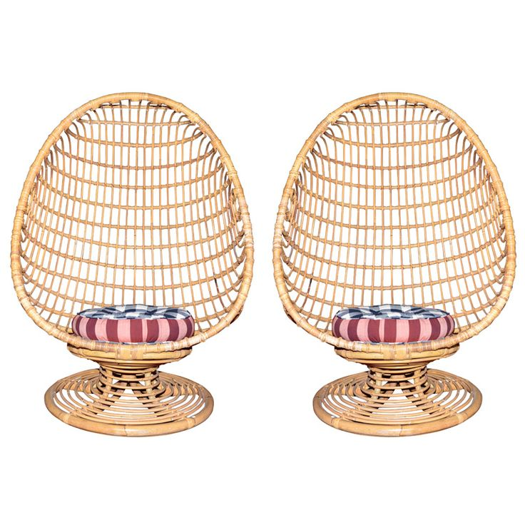 Two 1960s Egg-Shaped Easy Chairs in Rattan