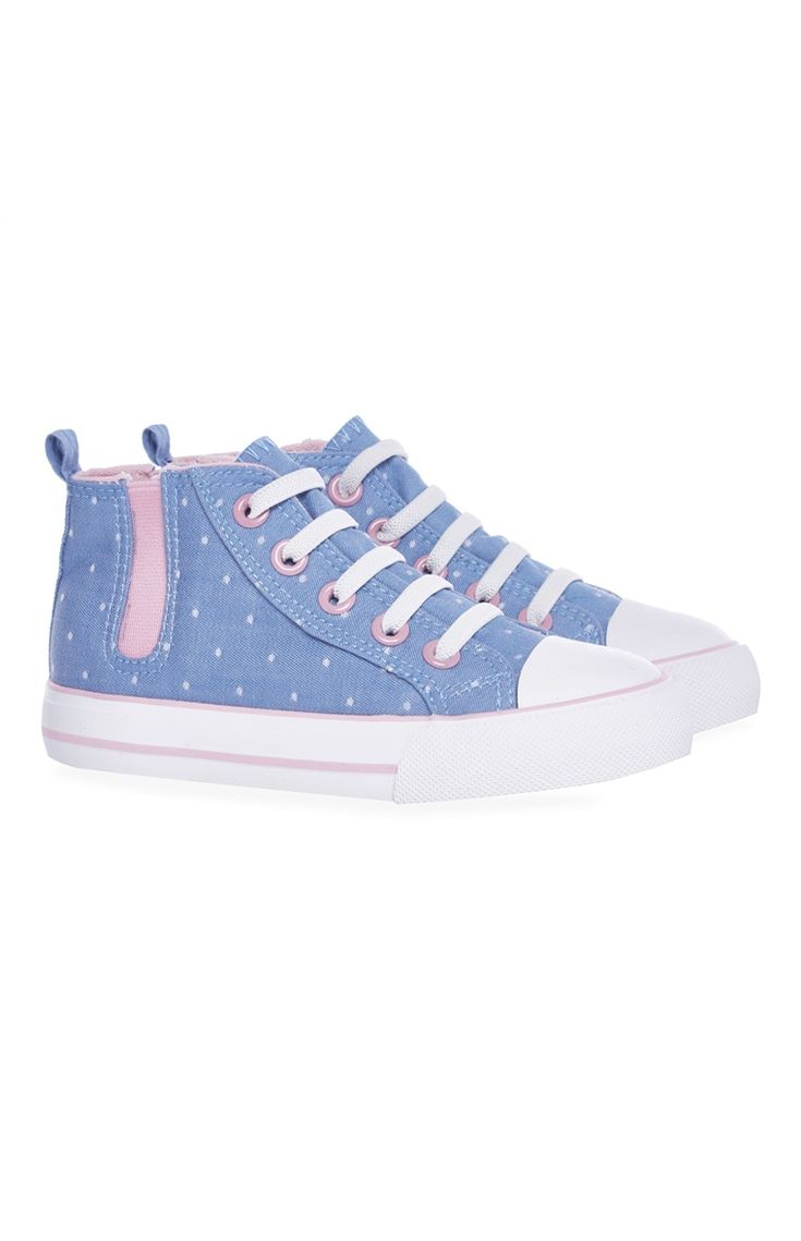 Blue Dotty Canvas High Top Trainers