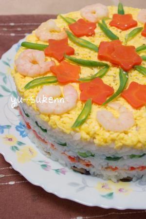"""Japanese recipe - """"Festive salmon SUSHI cake""""/焼き鮭のお祝い押し寿司ケーキ☆子供と作れる♪/ちらしずし"""