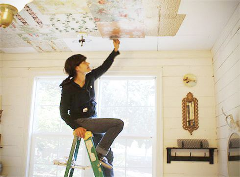 Ceiling Wallpaper? Yes 'ceiling'! | Ada's Interior Design.....What about pages from an old book?