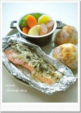 鮭マリネのホイル焼き♢バジル風味