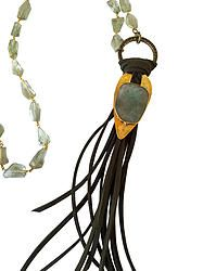 Yellow Bronze ID Tag Necklace W/ Gemstone Chain