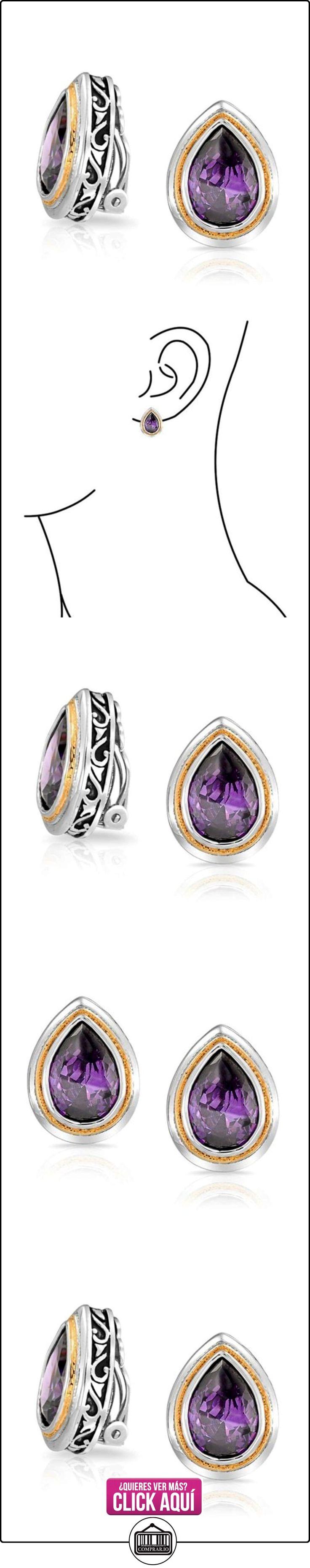 Bling Jewelry Lágrima Color Amatistas púrpura Cubic Zirconia pendiente de Clip  ✿ Joyas para mujer - Las mejores ofertas ✿ ▬► Ver oferta: http://comprar.io/goto/B00H24AHN2