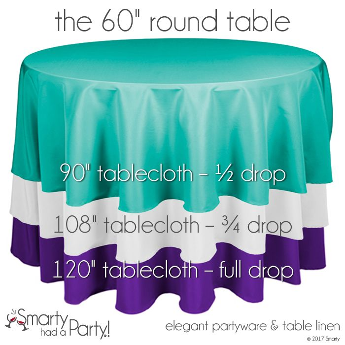"""Here is a tablecloth size guide for a 60"""" round table. Check out the entire tablecloth size guide for round tables. #TableclothSizeGuide 