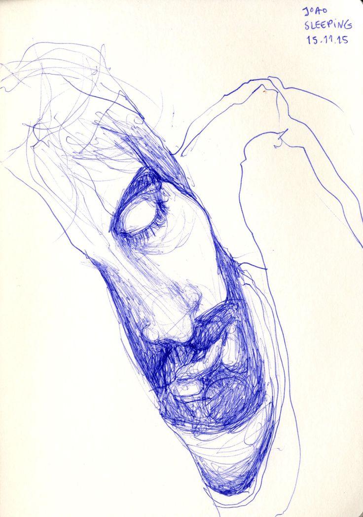 15 minute drawing of Joao sleeping in bed.