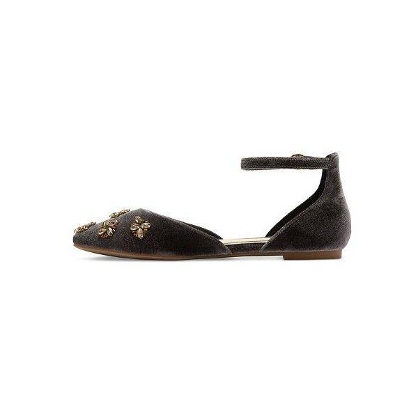 Women's Diamond by FarylRobin Celinda Velvet Embellished Flats ($35) via Polyvore featuring shoes, flats, embellished flats, velvet flat shoes, velvet flats, embellished shoes and flat shoes