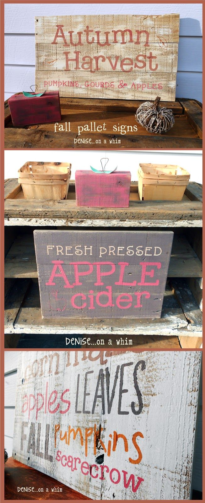 Fall Pallet Signs from http://deniseonawhim.blogspot.com