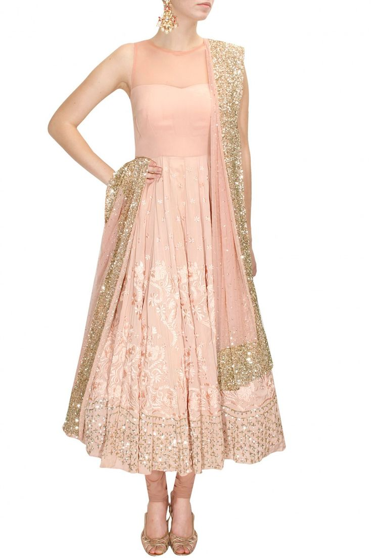 Astha Narang Peach Thread & Sequins Embroidered Anarkali Set.