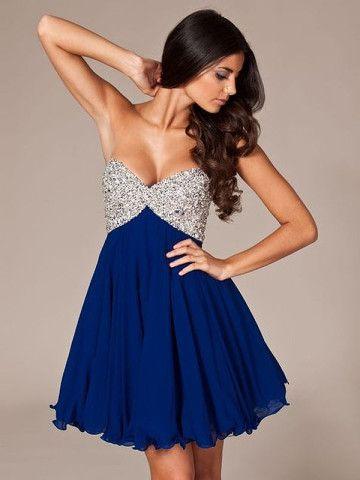A-line Sweetheart Chiffon Mini Dress