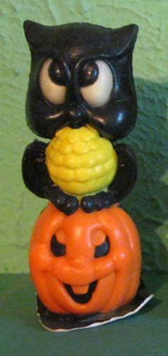 Vintage Halloween Gurley Candle ~ Owl on Jack O' Lantern (Owls eyes glow in the dark!)