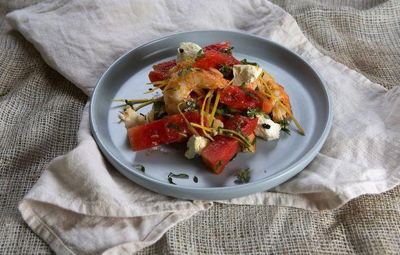 Prawn, Feta and Watermelon Salad - Maggie Beer