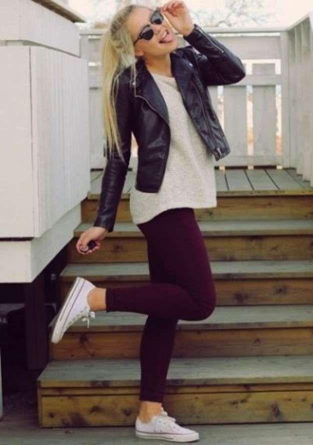 Cómo usar las Converse: fotos de los looks - Converse con leggings