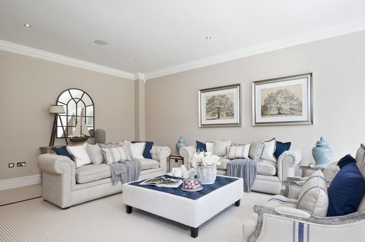 White/Blue Family Room #interior #design  - By Alexander James Interiors