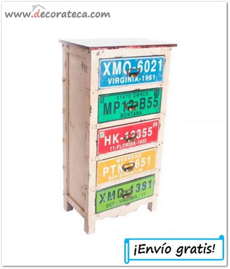 """Cajonera de madera industrial """"Montana"""". Muebles auxiliares decoración industrial; colección matrículas americanas - WWW.DECORATECA.COM"""