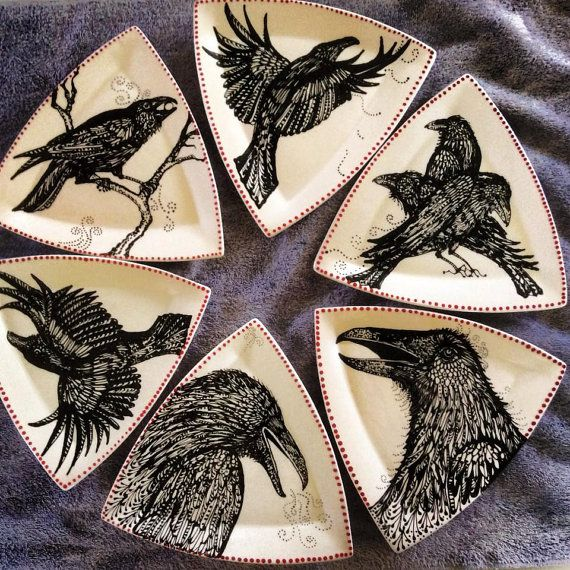 Love these! Crows Ravens Plate Collection, by Patty Mara.