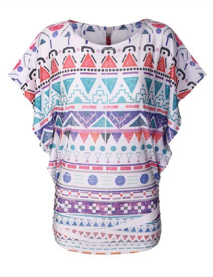BIADANI Women Sublimation Aztec Vintage Short Sleeve Dolman Tops