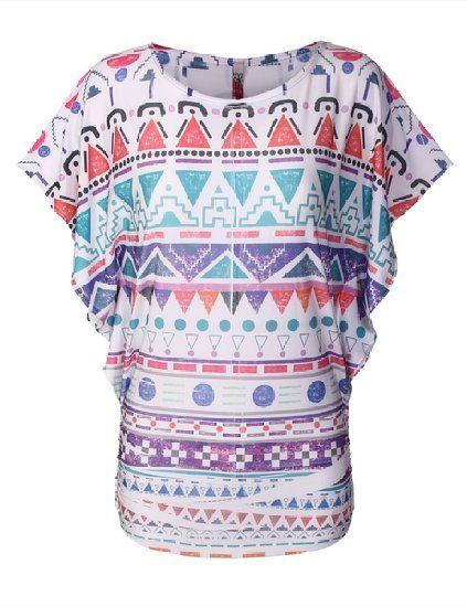BIADANI Women Sublimation Aztec Vintage Short Sleeve Dolman Tops