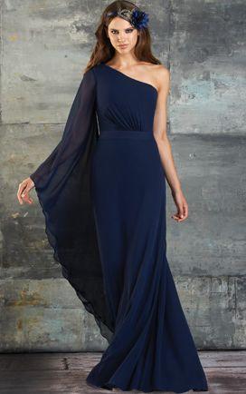 A-line Chiffon Floor-length One Shoulder One Sleeve Bridesmaid Dresses
