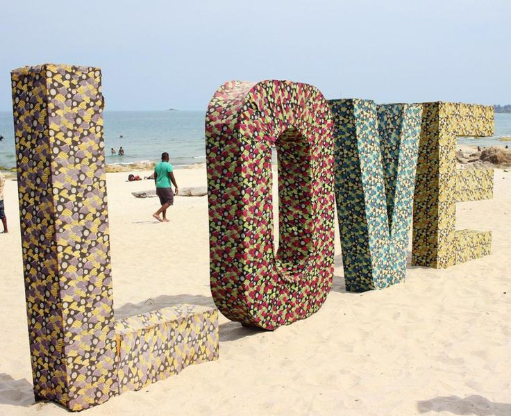 Large letters spell LOVE at the Lake Of Stars festival in Malawi