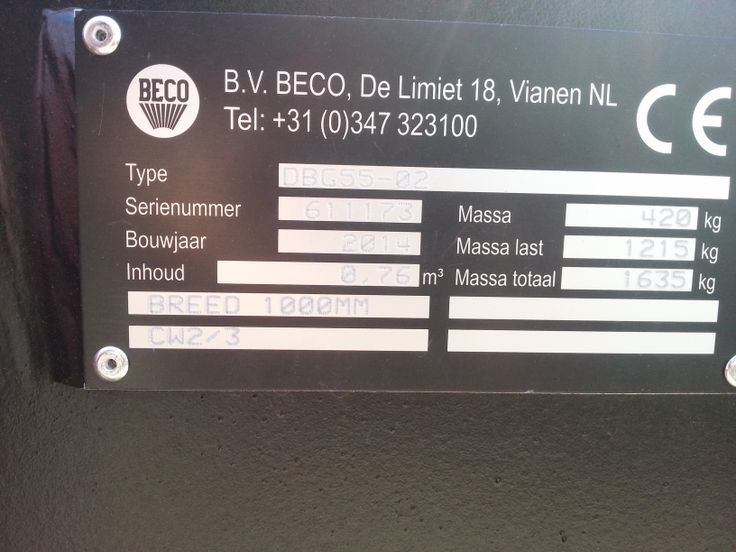 Stehouwer www.sthmchines.nl Beco dieplepelbak 760ltr 1m