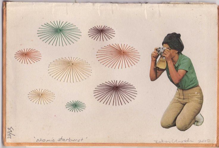 """Atomic Starburst""  Katherine Claypole hand stitched thread drawing with collage 2016"