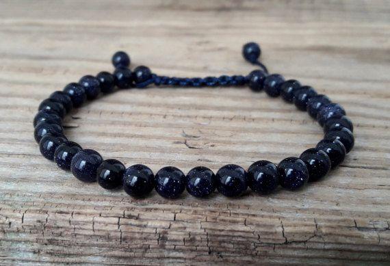 Deep blue goldstone bracelet energy bracelet power bracelet