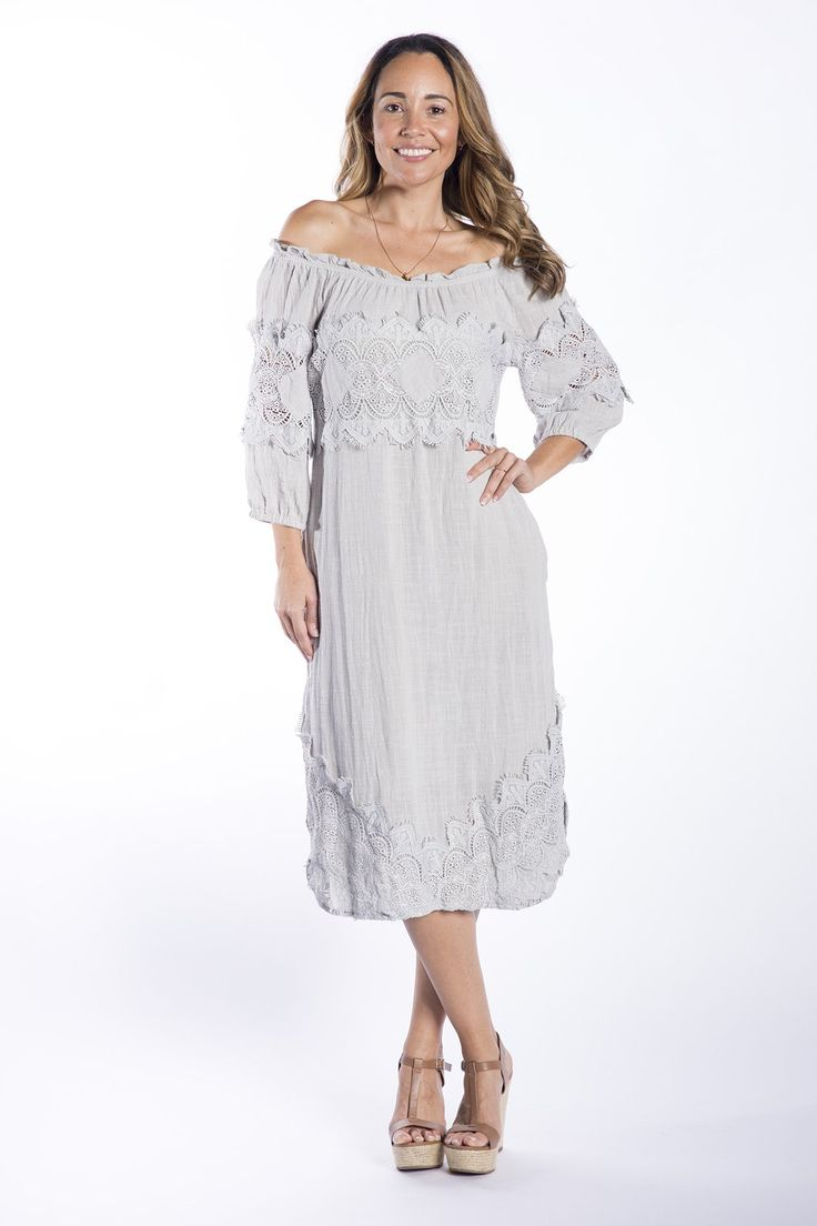 Cafe Latte - Savannah Putty Crochet Dress - Clw829