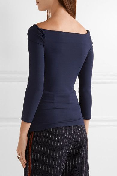Michael Kors Collection - Off-the-shoulder Twist-front Stretch-jersey Top - Navy - x small