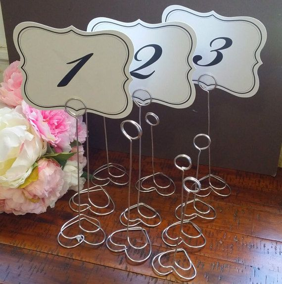 Sets of Double Heart wire table number stand. Wire Table Number, Wedding Table Number