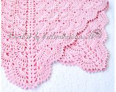 Pink crochet baby blanket - Crochet afghan baby gift cotton - made to order
