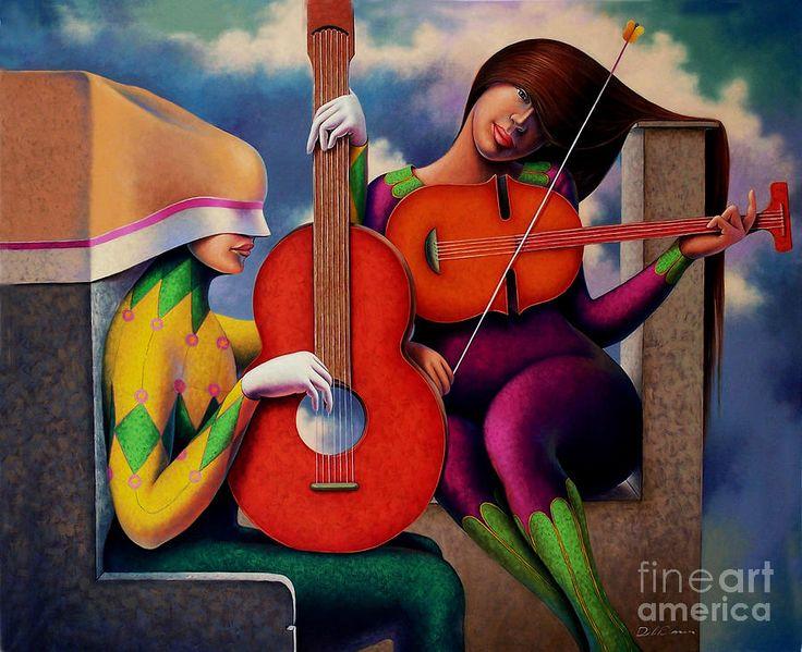 Guitarrista Yviolinista Painting Jose De La Barra