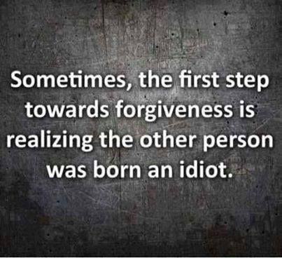 sometimes the first step towards forgiveness is realizing the other person was born an idiot.