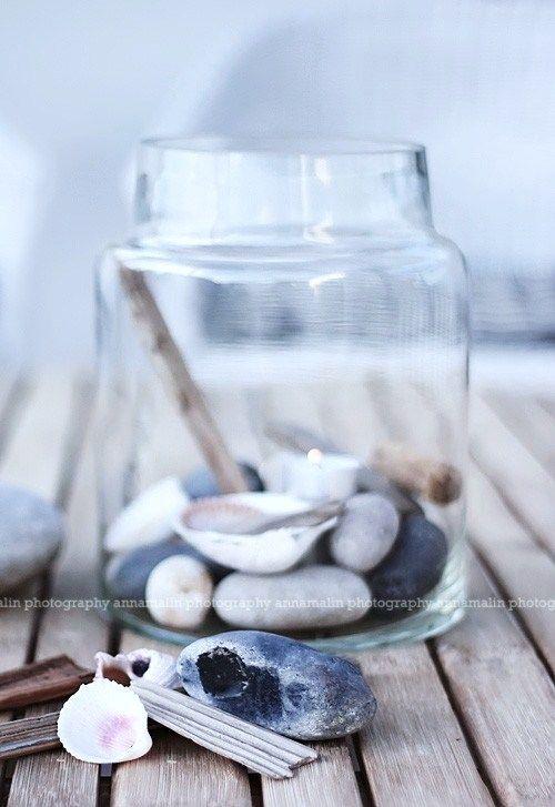 glas met schelpen; mooie combi