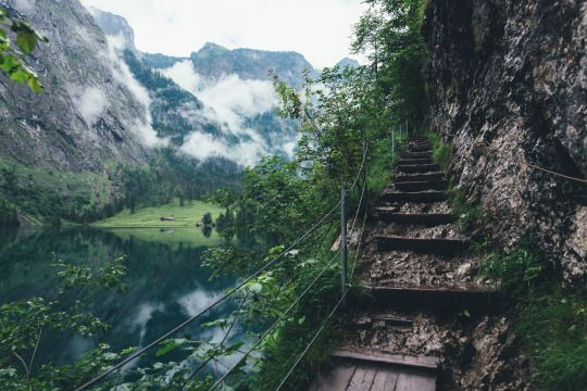 Hiking through the Alps to Germany's tallest waterfall, Röthbachfall.  Berchtesgaden National Park, Germany. June 2015.
