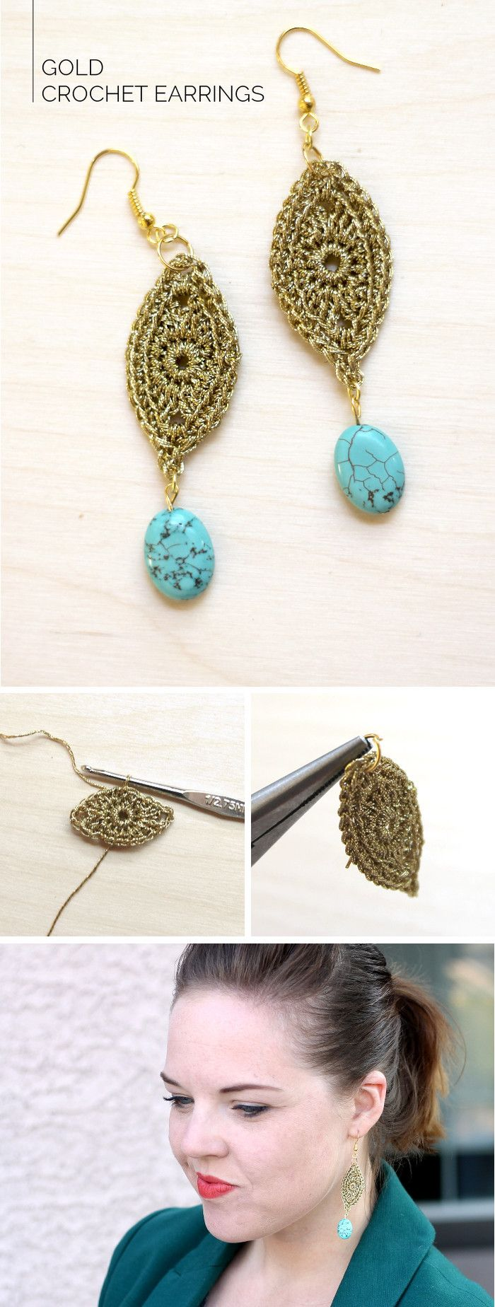 Would you believe these earrings are crocheted?! Get the full tutorial at persialou.com ༺✿ƬⱤღ https://www.pinterest.com/teretegui/✿༻
