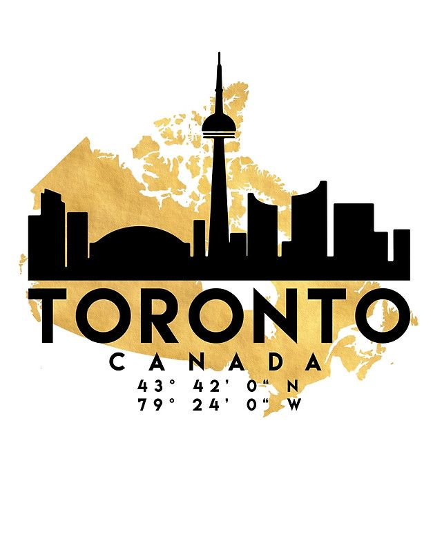 TORONTO CANADA SILHOUETTE SKYLINE MAP ART - The beautiful silhouette skyline of Toronto and the great map of Canada in gold, with the exact coordinates of Toronto make up this amazing art piece. A great gift for anybody that has love for this city. toronto canada downtown silhouette skyline map coordinates souvenir gold