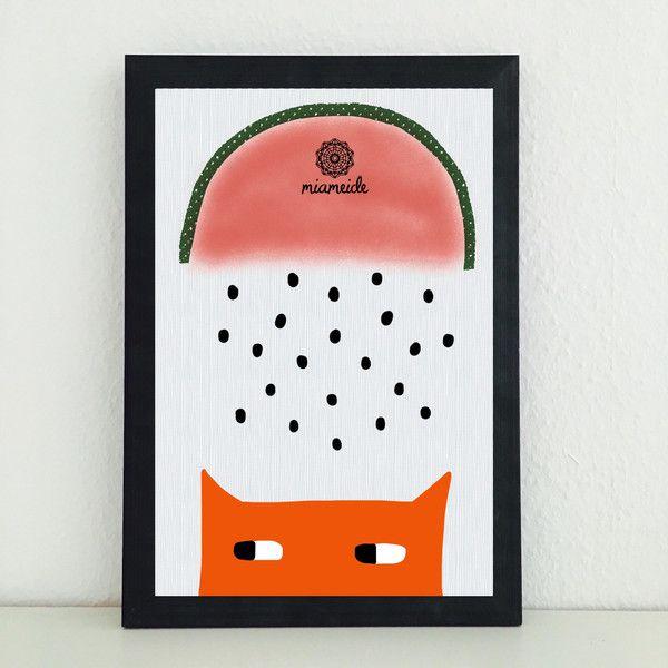 Illustrationen - Wassermelone Fuchs Bild Illustration Kunstdruck - ein Designerstück von miameideblog bei DaWanda