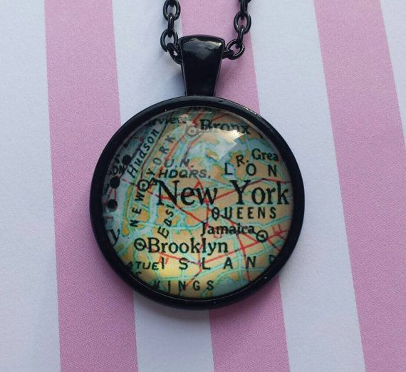 New York state map pendant necklace by SillySquirrelJewelry