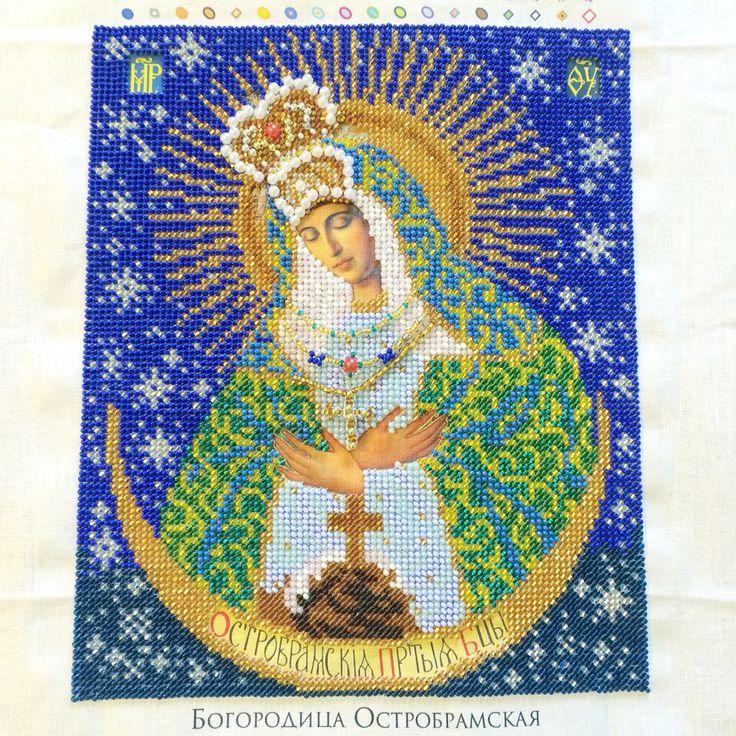 """Икона """"Богородица Остробрамская"""" в завершенном виде. Осталось оформить в багет. Финиш 15 декабря 2015 #Остробрамская #бисер #вышивкабисером #иконыбисером"""