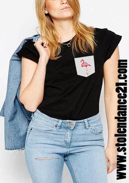 Flamingo Real Pocket Tee Crew Neck Top T shirt code50813