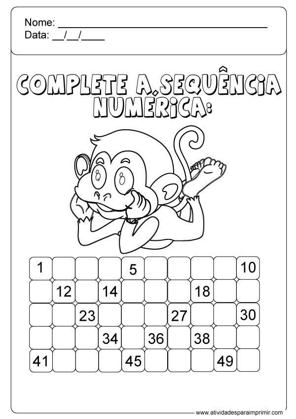 Complete A Sequencia Numerica Atividades De Alfabetizacao Pre
