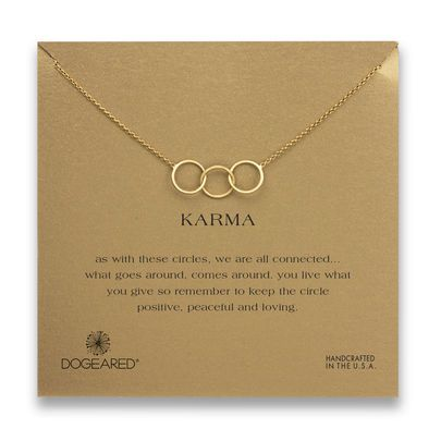 karma large 3 linked necklace, gold dipped, 18 inch