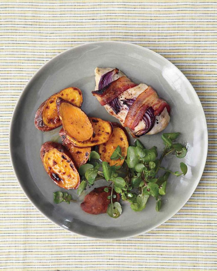 Broiled Bacon-Wrapped Chicken with Sweet Potatoes and Watercress