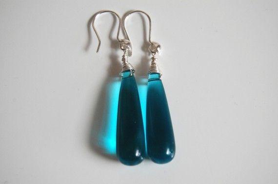 Shoply.com -Lake blue long drop quartz briolette earrings. Only C$30.00