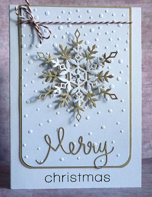 The falling snow is a Sizzix Christmas and Dots embossing folder.  The snowflakes are SSS