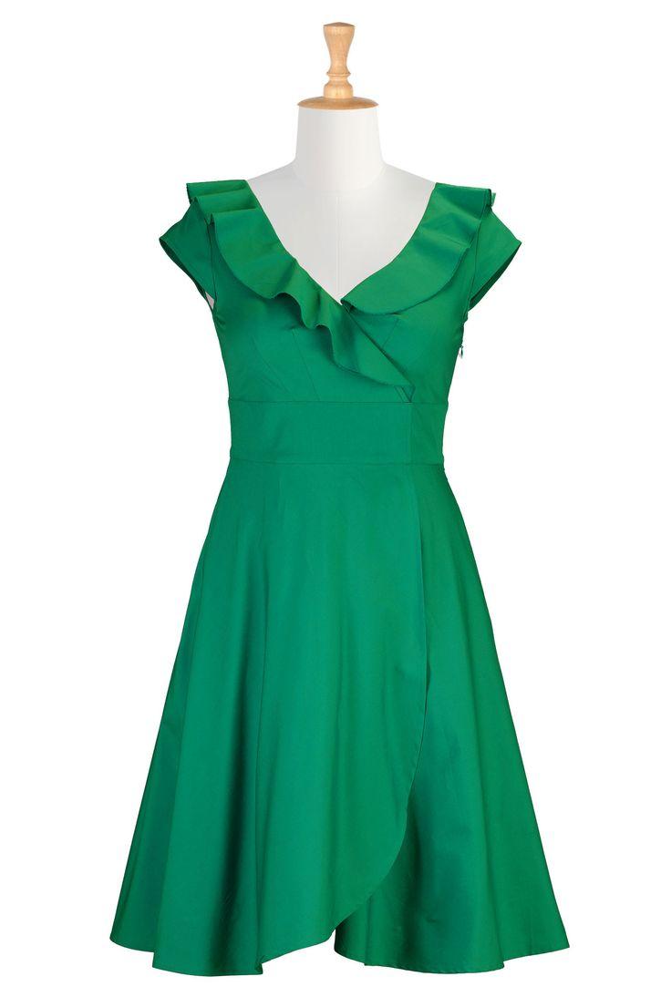 Ruffle cotton poplin dress