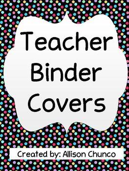 Polka Dot Organizational Teacher Binder Covers $1