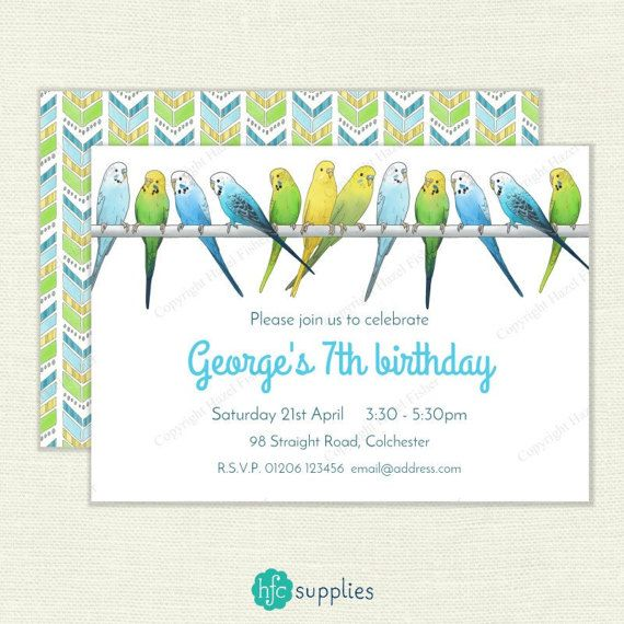 Budgies Invitation  personalised printable birthday party invite. Illustration of a row of blue, green and yellow budgies. Printable, comes personalised with your choice of wording for your party. hfcSupplies Etsy.